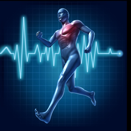 cardiovascular exercising: Running human with heart monitor symbol representing cardiovascular health and heart pulse rate Stock Photo