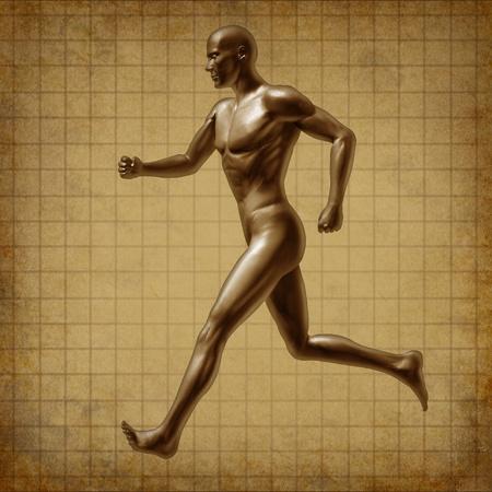 cardiovascular exercising: Vintage grunge running man active runner energy Stock Photo