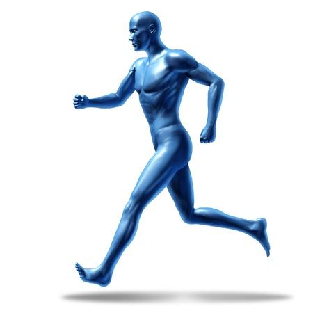 cardiovascular exercising: running man active runner energy isolated on white Stock Photo