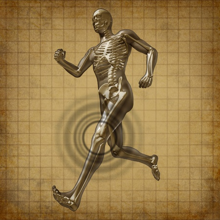 Human knee pain running man skeleton x-ray visual bone grunge old parchment document health fitness exercise chart symbol Stock Photo - 11530371