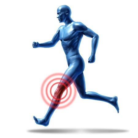 de rodillas: Correr el hombre con dolor de rodilla y lesiones que representa un símbolo médico de la salud Foto de archivo