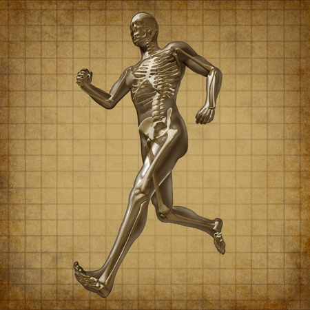 x ray skeleton: Human running man skeleton x-ray visual bone health fitness exercise grunge old parchment document chart symbol Stock Photo