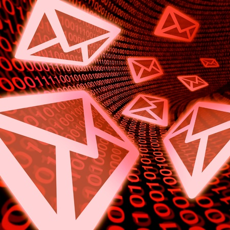 e-mail data transfer red communications promotion internet contact information red binary code concept mail Stock Photo - 11495655