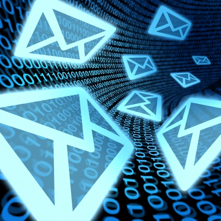 E-mail de transfert de données de communication de promotion de contact internet d'information binaire bleu électronique concept de code Banque d'images - 11495654
