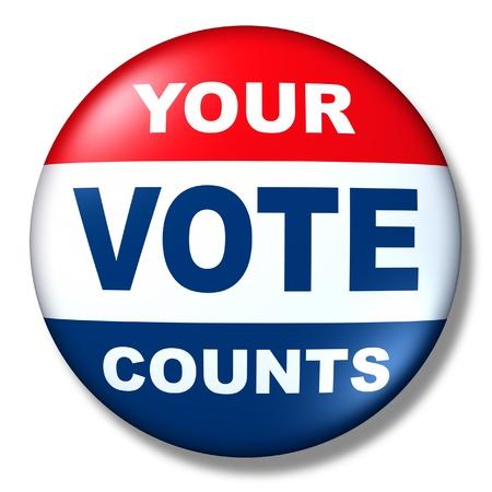 registration: patriotic vote button badge election politics symbol