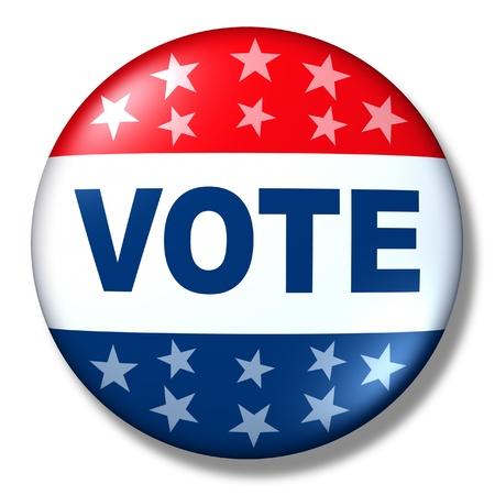 politics: patriotic vote button badge election politics symbol