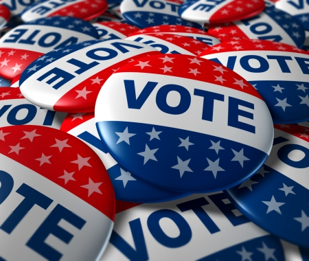 Vote badges patriotique bouton insigne patriotique élection bouton politique symbole Banque d'images - 11495653