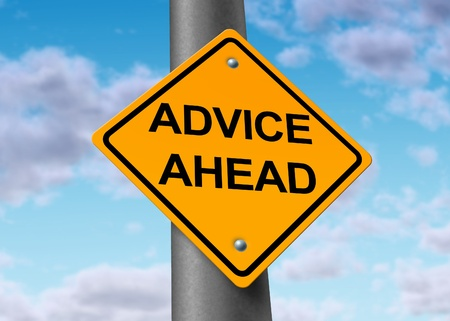 wisdom: advice ahead helpful information service financial guidance strategy planning road street sign