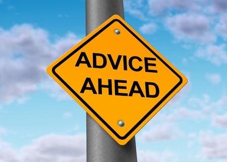 advies voor nuttige informatie dienst financiële begeleiding strategie planning weg straatnaambord Stockfoto