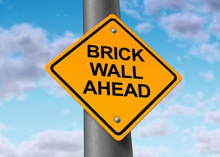 Brick wall ahead road street sign obstacle danger caution business icon symbol challenge overcome Stock Photo - 11495617