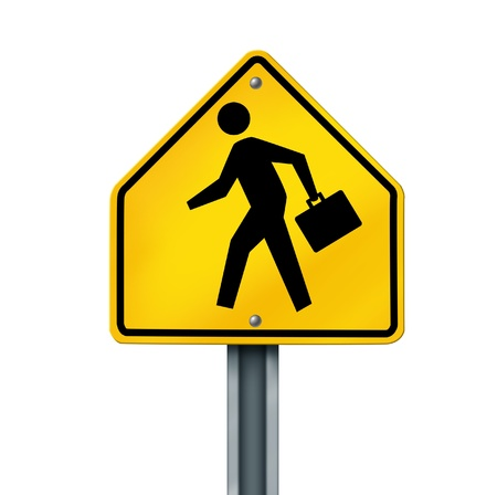 are working: business man person brief case financial crossing opportunity career jobs yellow road street sign isolated Stock Photo