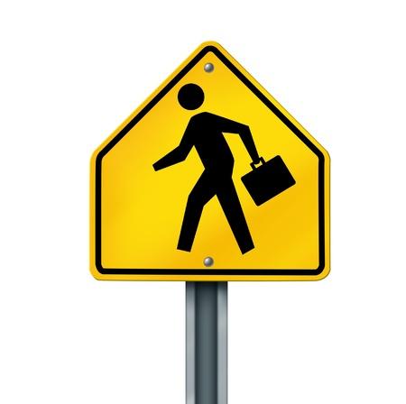 werk: zakenman persoon aktetas financiële oversteken kans carrière banen geel straat teken geïsoleerd