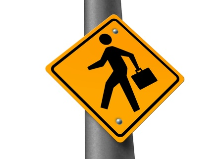 brief case: business man person brief case financial crossing opportunity career jobs yellow road street sign isolate