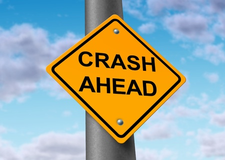 crash accident car auto damage insurance wreck traffic road sign symbol photo