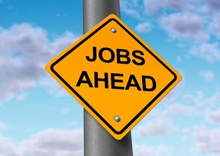 werk: banen werkgelegenheid vooruit weg straatnaambord Stockfoto