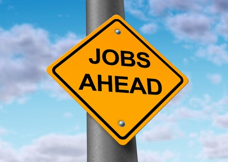 employment issues: jobs employment opportunity ahead road street sign Stock Photo