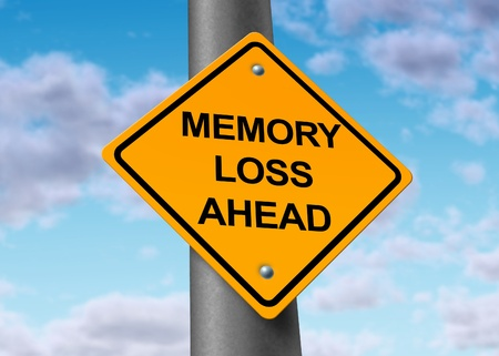 disease prevention: memory loss alzheimers ahead road street sign