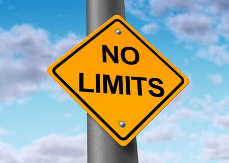 no limits: no limits endless limitless potential positive believe sky limited road sign obstacles removed Stock Photo