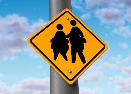 obesity kids: obese fat school children obesity overweight kids diet crossing sign risks Stock Photo