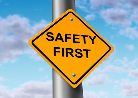 safety: Safety First road street sign symbol Stock Photo