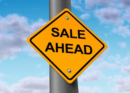 sale selling buyers sellers purchase profits ahead road sign photo