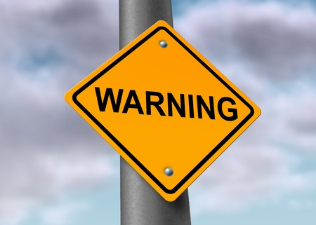 trip hazard sign: Warning attention ahead caution road Sign careful clouds Stock Photo