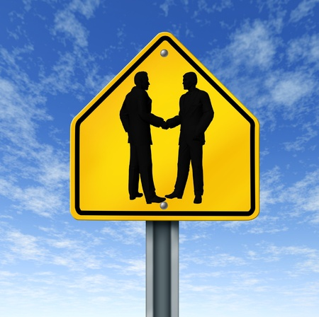 contractual: agreement hand shake business deal road sign symbol