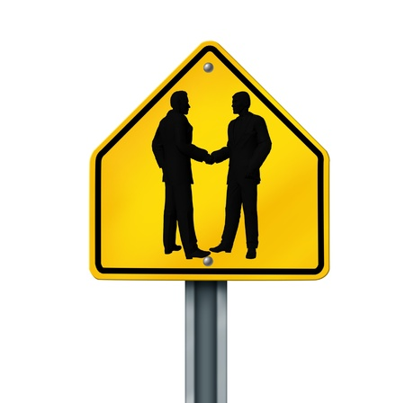 contractual: agreement hand shake business deal road sign symbol isolated