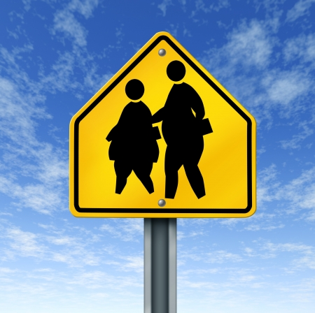 obese school children obesity overweight kids diet crossing sign Stock Photo - 11409646