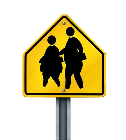 fat school children obesity overweight kids crossing sign photo