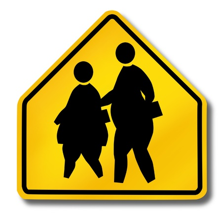 fat person: school children obesity overweight obese kids fat crossing sign