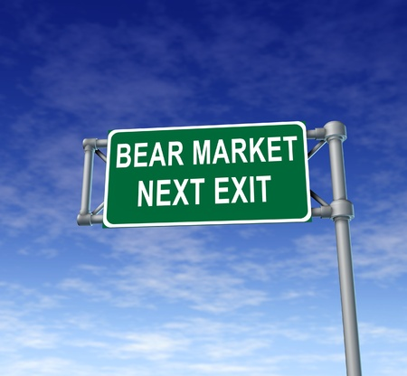 lack of confidence: Bear Market green freeway sign representing uncertainty in financial business and lack of confidence. Stock Photo