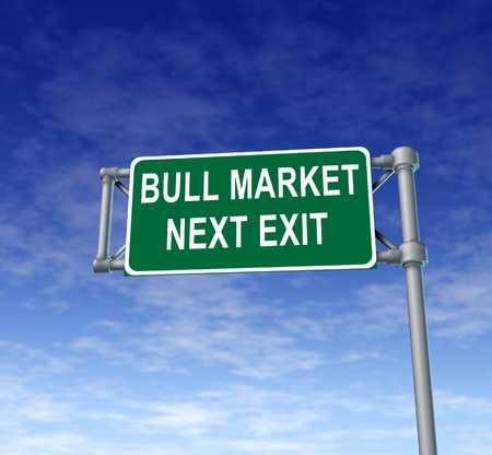 Bull Market green freeway sign representing confidence in financial business and success in rising stock prices. Stock Photo - 11409637