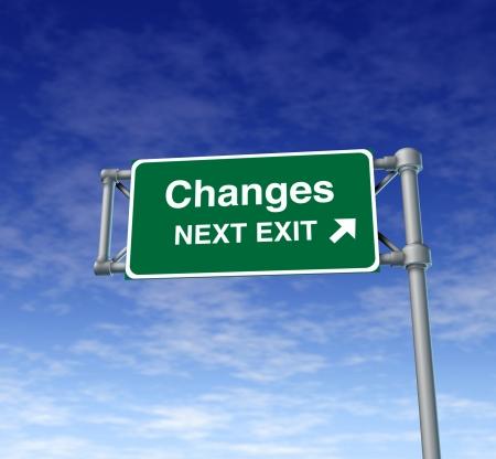 changes Freeway Exit Sign highway street symbol green signage road symbol