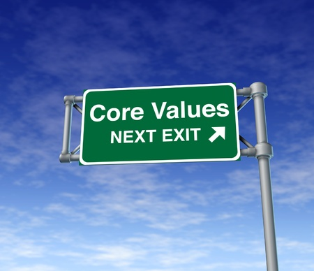 road signs: Core Values business symbol street road sign icon