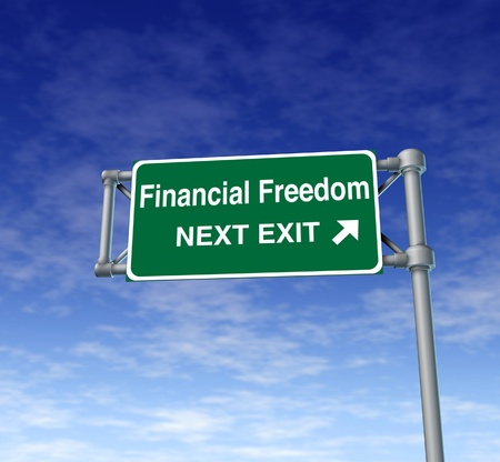 financial freedom business Freeway Exit Sign highway street symbol green signage road symbol Stock Photo - 11409503