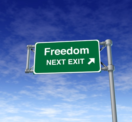 shackles: freedom Freeway Exit Sign highway street symbol green signage road symbol