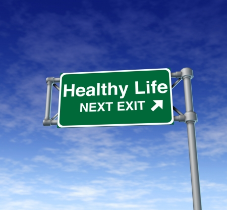 exit sign: healthy life Freeway Exit Sign highway street symbol green signage road symbol Stock Photo