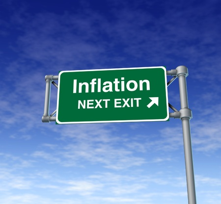 inflation economy prices rise busiiness symbol freeway sign road