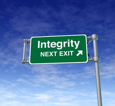 conservative: Integrity Freeway Exit Sign highway street symbol green signage road symbol