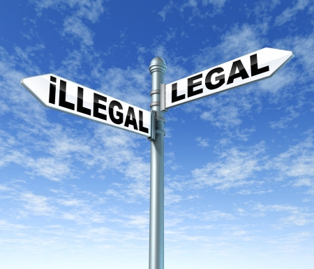 regulations: illegal legal law balance courts lawful traffic signpost Stock Photo