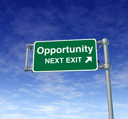Opportunity Freeway Exit Sign highway street symbol green signage road symbol Stock Photo - 11405184