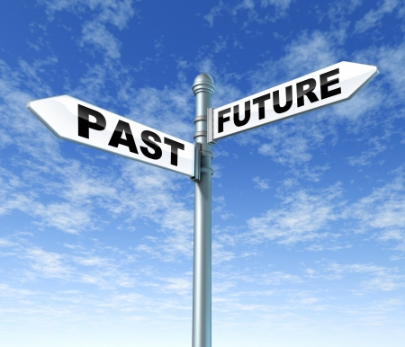 predictions: past future sign post sky Stock Photo