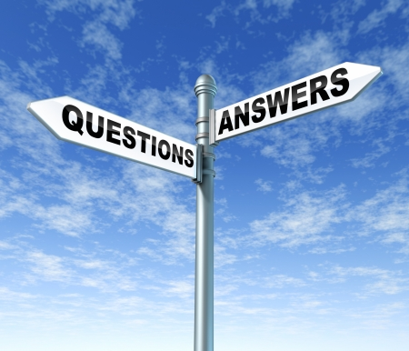 questions answers signpost sign symbol Stock Photo - 11405197