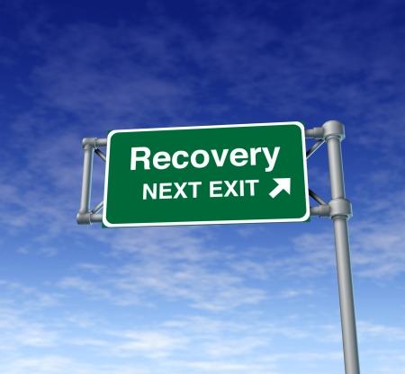 Recovery economia d'impresa salute cartello stradale