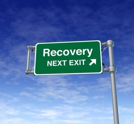 road to recovery: Recovery economy business health road sign
