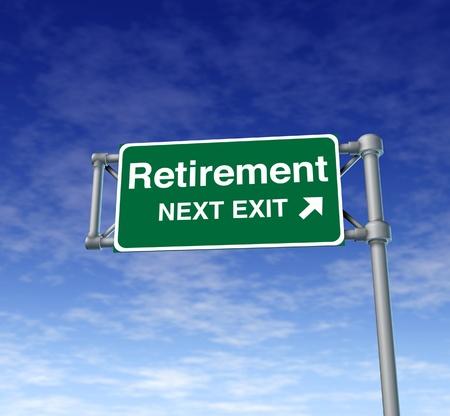 retirement nest egg: Retirement 401k highway sign symbol