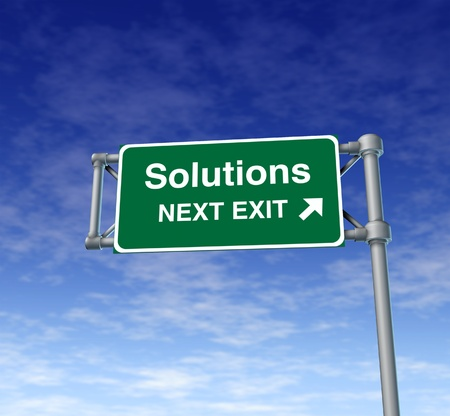 solutions freeway: Solutions Freeway Exit Sign highway street symbol green signage road symbol