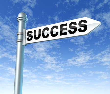 clouds making: road to success sign signpost Stock Photo