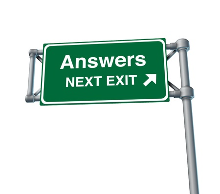 costumer: Answers Freeway Exit Sign highway street symbol green signage road symbol isolated